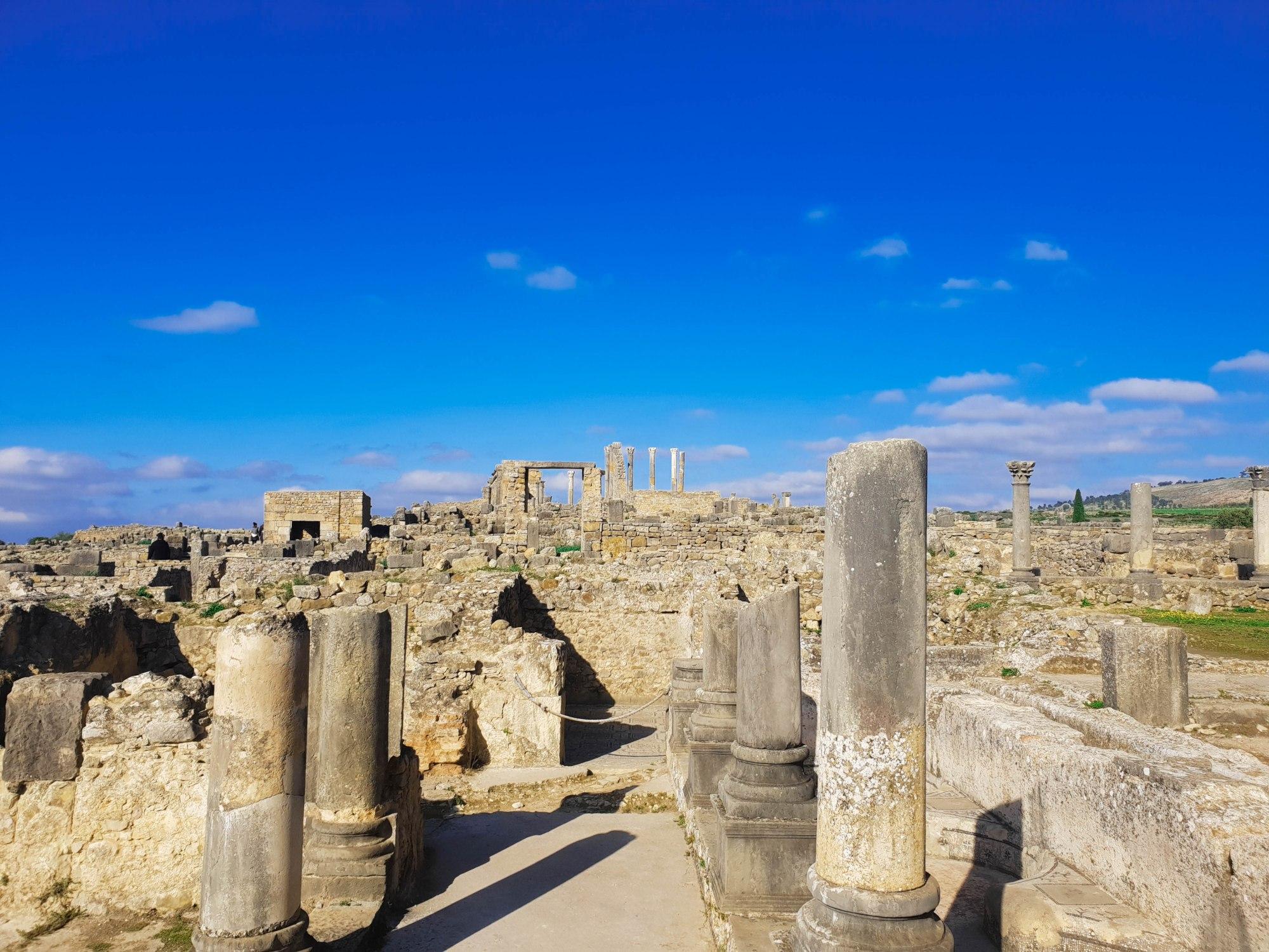 Les vestiges du site archéologique de Volubilis au MAroc